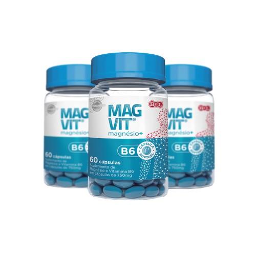 Cloreto de Magnésio + Vitamina B6 750mg 60 Cáps. Magvit