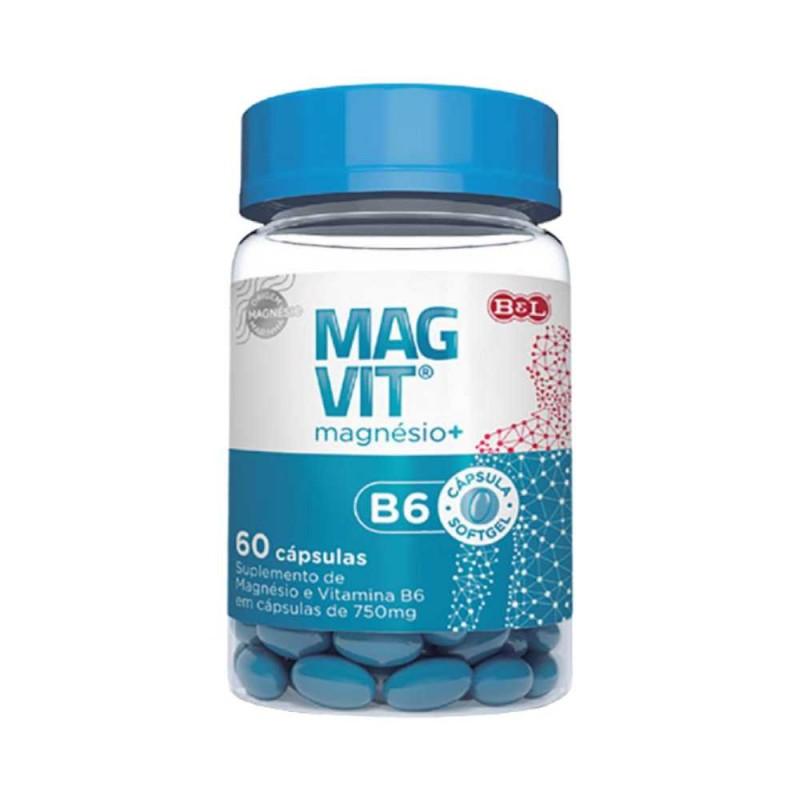 Cloreto de Magnésio + Vitamina B6 1000mg 60 Cáps. Magvit