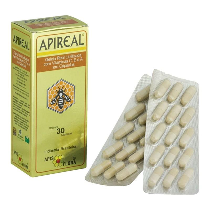 Apireal geléia real liofilizada 100mg 30 cápsulas - Apis flora
