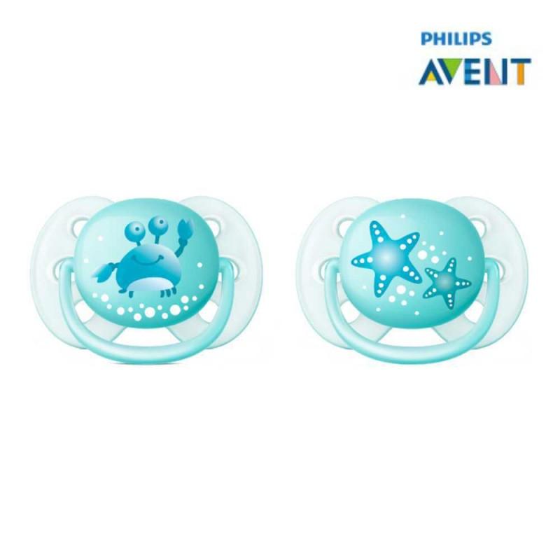 Avent chupeta ultra soft 0-6 meses, azul estrela do mar e carangueijo 2 unidades