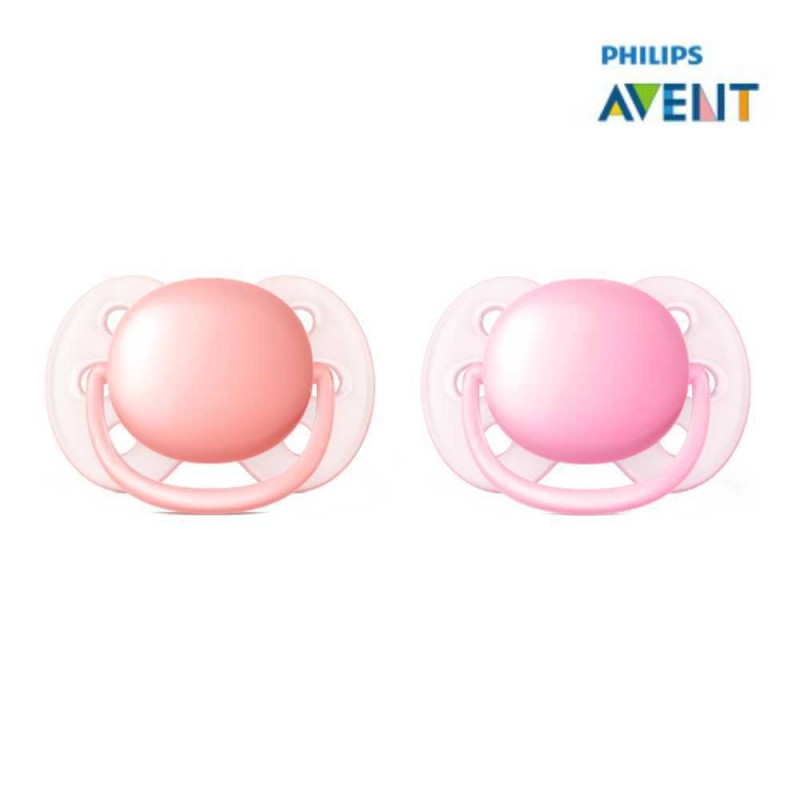 Avent Chupeta ultra soft 0-6 meses, lisa rosa e lilás 2 unidades
