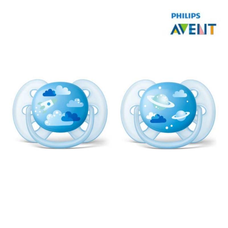 Avent Chupeta ultra soft 6-18 meses, azul nuvens e planetas 2 unidades