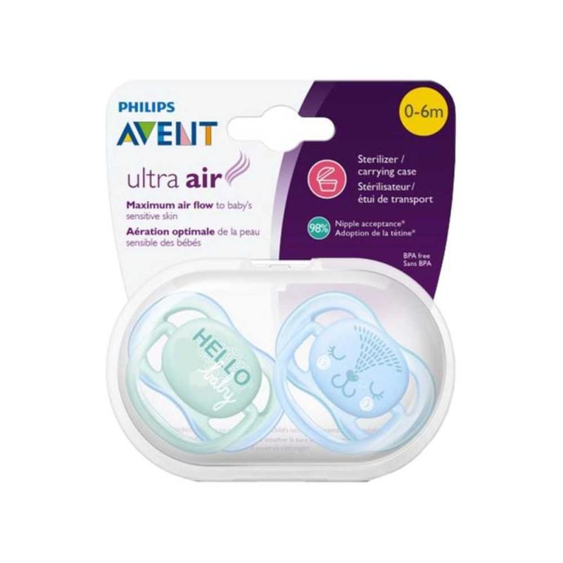 Avent Chupeta ultra air 0-6 meses, azul urso / verde hello, 2 unidades