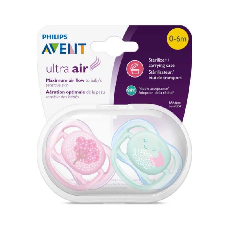 Avent Chupeta ultra air 0-6 meses,rosa árvore / verde numvem 2 unidades