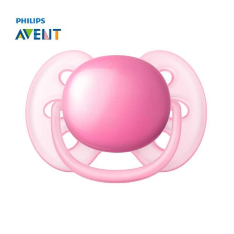 Avent Chupeta ultra soft 6-18 meses lisa rosa 1 unidade
