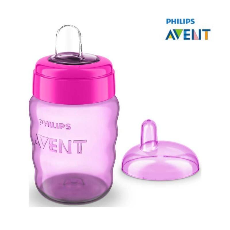 Avent Copo easy sip 9 meses+ bico de silicone 260ml rosa e lilás