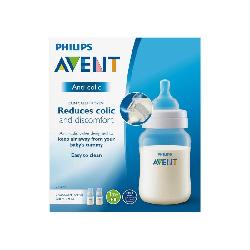 Avent Mamadeira anti colic 1 meses+ 260ml transparente duplo pack