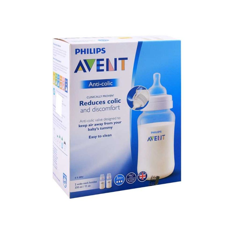 Avent Mamadeira anti colic 3 meses+ 330ml transparente duplo pack