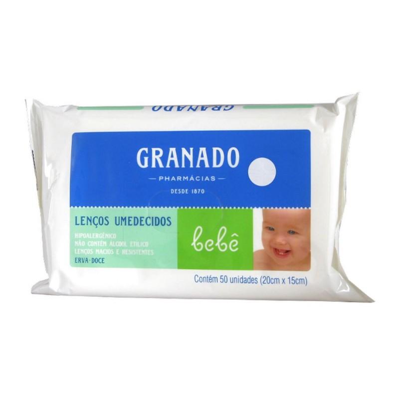 Lenço umidecido bebê erva-doce pacote com 50 unidades