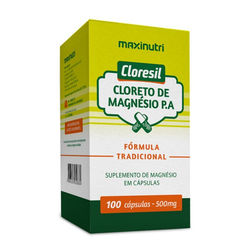 Cloreto de magnésio 500mg 100 cápsulas p.a. (cloresil)
