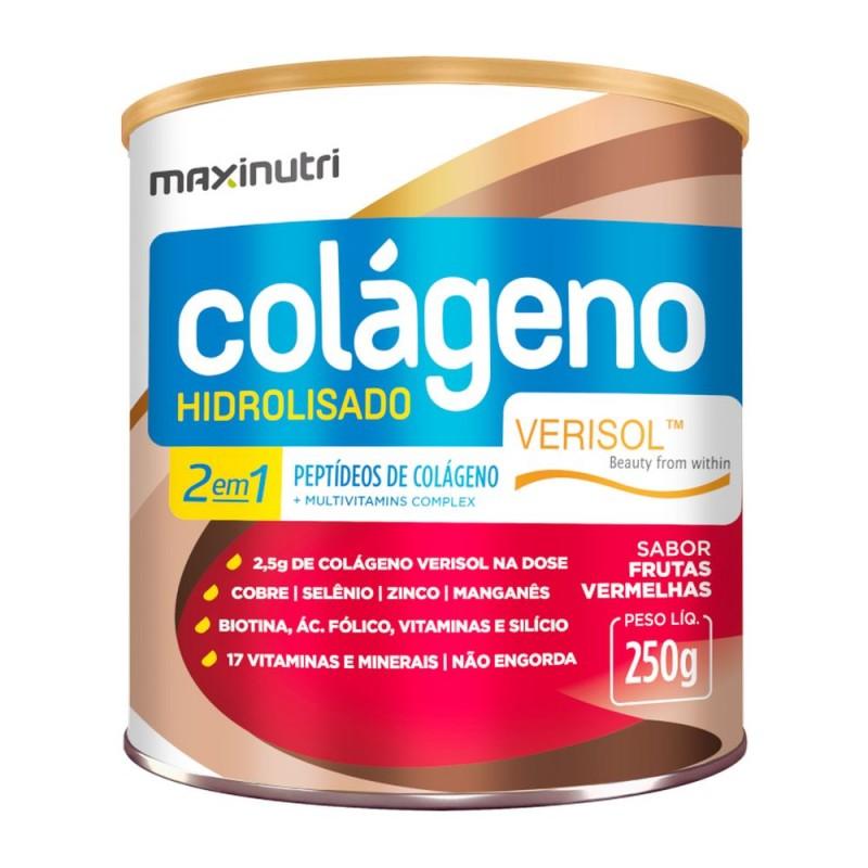 Colágeno 2 em 1 hidrolisado verisol sabor frutas vermelhas 250gr