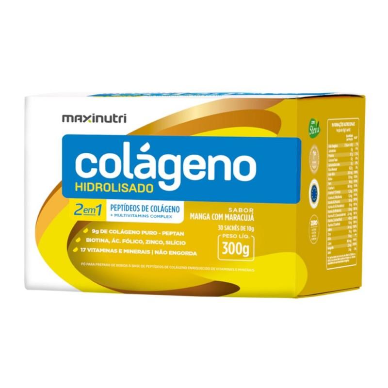Colágeno 2 em 1 hidrolisado sachê sabor manga com maracujá 300gr