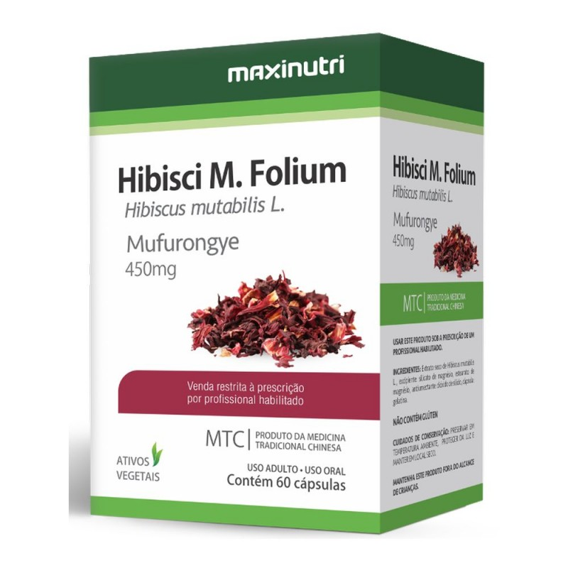 Hibisci m. folium (hibisco) 60 cápsulas medicina tradicional chinesa