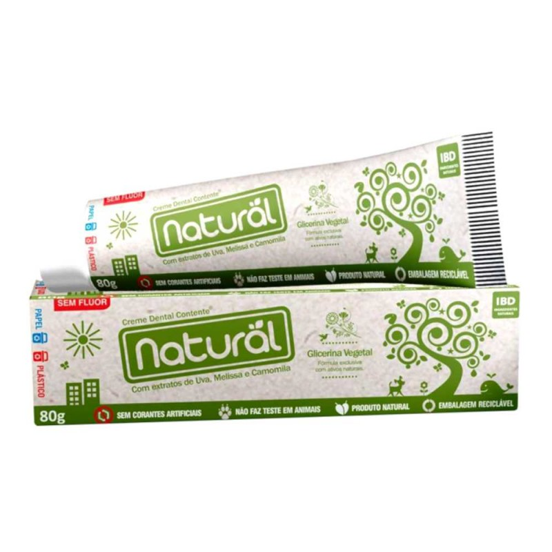 Creme dental natural com extrato de uva/melissa/camomila sem flúor 80gr