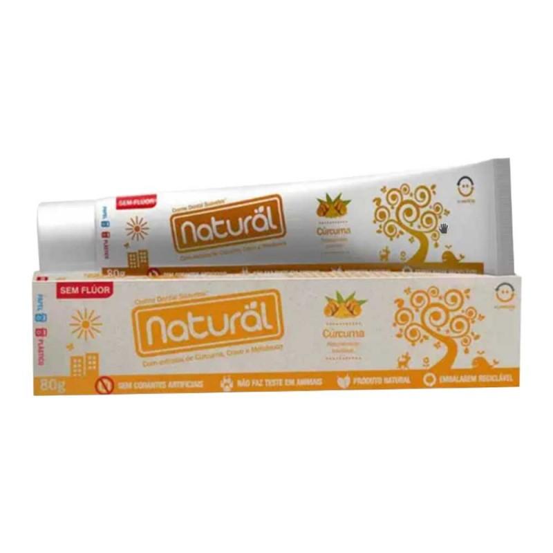 Creme dental natural com extrato de cravo/cúrcuma/melaleuca sem flúor 80gr