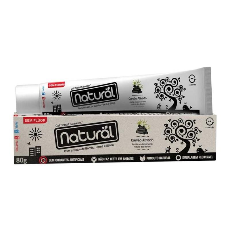 Gel dental natural extrato de bambú/romã/sálvia com carvão ativado sem flúor 80gr