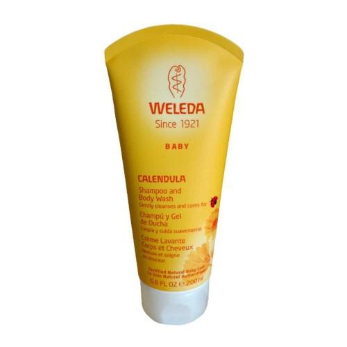 Shampoo de calêndula e body wash sabão cremoso da Weleda 200ml